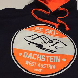 #screenprinted #schoolhoodie #print #fluorescent #cornwall Ski Trip hoodies for Bideford College